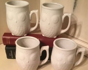 4 White Owl Mugs