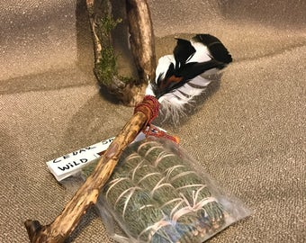 Eagle Feather Smudge Fan With Tangerine Quartz