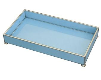 "Blue Lizard Print Metal and Glass 6"" x 12"" Tray"