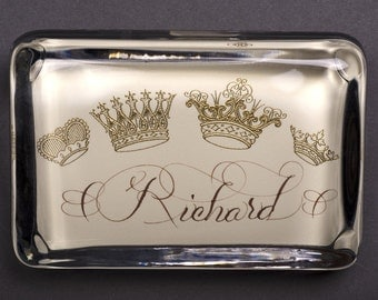 Crown Custom Name Monogram Paperweight