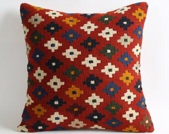 kilim pillow case, 16x16 old pillow cover, antique pillow, aztec pillow, modern kilim pillow, home decor
