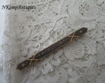 Antique damascene brooch