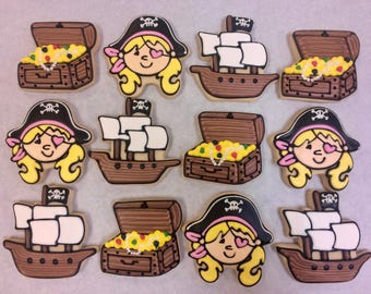 Girls Pirate Cookie Favors,Pirate Favor Cookies for Birthdays, Pirate Ship cookies, Pirate Cookies for Girls Parties, Best Pirate Cookies
