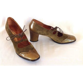 1960's Olive Suede Lace-up Oxford Pumps Sz. 7 1/2 AA