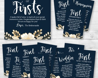 A Year of Firsts - Wine Gift Basket Tags - Bridal Shower Wine Gift - Navy Blue, Gold, White Floral
