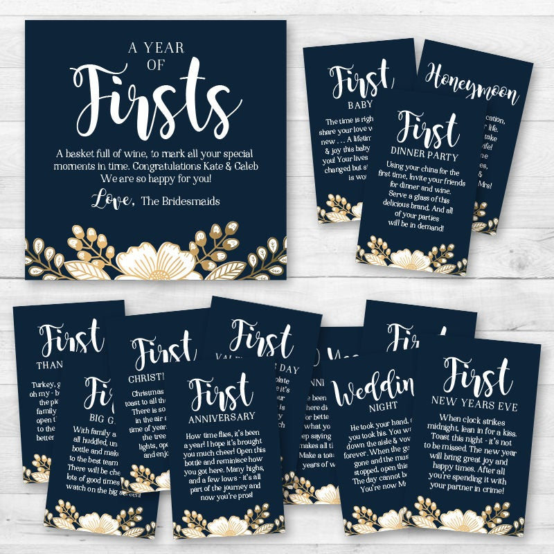 A year of firsts wine gift basket tags bridal shower wine for Gifts for first apartment