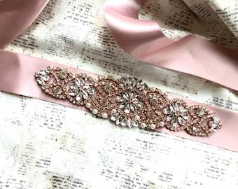 Rose gold Sash, Rose Gold Wedding Sash, Rose Gold Belt, Rose Gold Bridal Sash, Bridal Belt Rose Gold, Blush Bridal Sash, Blush Sash Belt