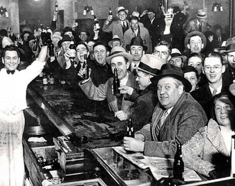 End of Prohibition Photo, Celebrating in Bar, Picture