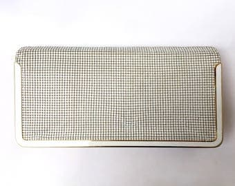 GLOMESH!!! Gorgeous 1970s 'Glomesh' cream and gold mesh clutch with multi pocket interior