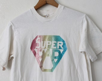 SMALL Vintage 1970s Super Dad (Sparkle) Graphic T-Shirt