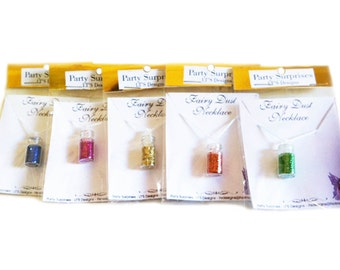 Fairy pixie dust glitter necklaces, sold as a 6 pack of necklaces