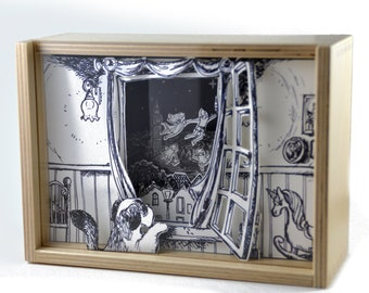 Shadow Box Peter Pan - 3D Illustration Paper 7x5,1 inch
