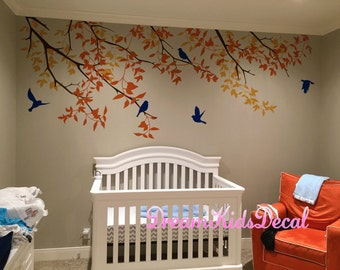Nursery Wall Decal, Birds Decal, Tree Wall Decal, Kids Decals Children Wall Decal, White Tree Branch Wall Decals, Living room Decor-DK191
