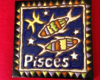 Pisces Zodiac Sign Tile Made In Italy