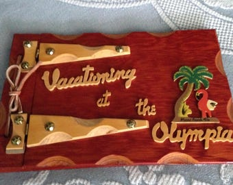 "Old Florida ""Vacationing at the Olympia"" Miami Beach Wood Photo Album/Scrapbook"