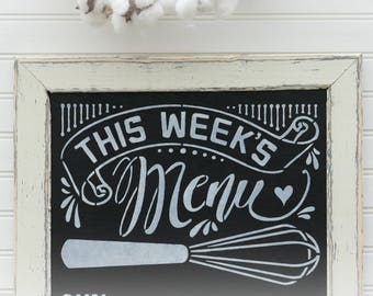 Chalkboard Menu Sign, Chalkboard Frame, Kitchen Wall Decor, Mothers Day Gift