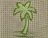 Green Palm Tree Embroidered Microfiber Hand Towel - Green Mist