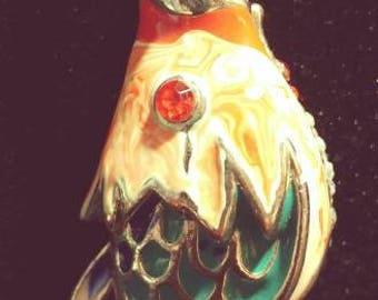 Enamal and rhinestone koi pendant