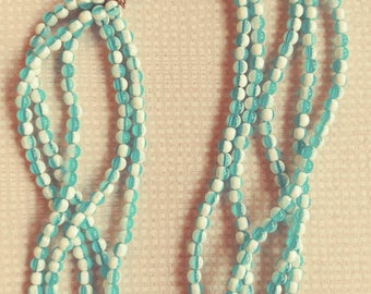 Vintage Blue and White Multi Strand Necklace