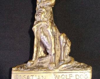 Vintage alsatian wolf dog brass door knocker.