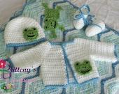 Baby Boy Blanket / Baby Boy Frog Blanket / Baby Blue Blanket / Baby Boy Blue Frog Blanket Set / Baby Boy Frog Sweater Set / Baby Shower Gift