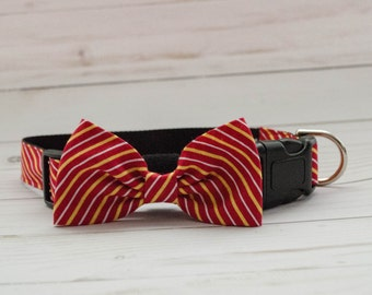 Maroon and Yellow Pinstripe Dog Bow Tie Collar