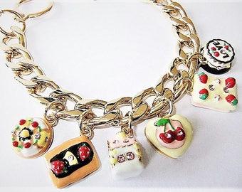 Charm bracelet gold white red charms cake cake bracelet