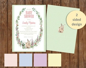 DIY PRINTABLE Baby Shower Shower Invitation | Bunny | Roses | Gingham Color Choice | 2-Sided