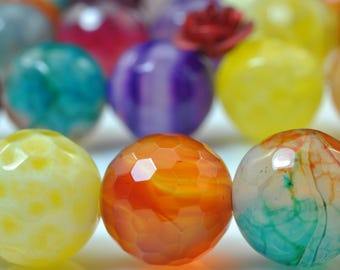37 pcs of  Rainbow Agate faceted round beads in 10mm