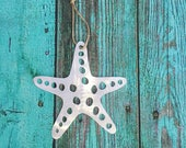 Starfish, Sea Star, Metal Wall Hanging, Large Ornament, Wedding Favors, Beach, silver, aluminum, indoor or outdoor, gift ideas