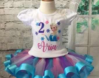 Elsa tutu, Elsa shirt, Elsa birthday shirt, Elsa birthday outfit, Frozen birthday shirt, Frozen birthday outfit, Elsa tutu, Elsa outfit