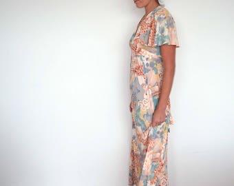 Vintage 1970s long floral hippie summer maxi dress -  Size S/M