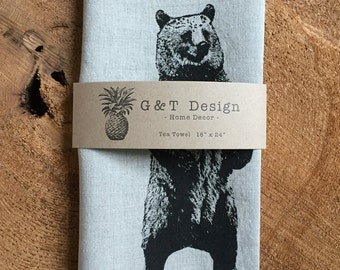 Standing Black Bear Screen Printed onto 100% Natural Linen, Kitchen Towel, Gift