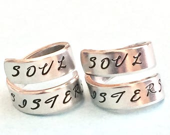 Soul Sisters - Aluminum Spiral Ring Set,  Sorority Sisters, Best Friends  Jewelry