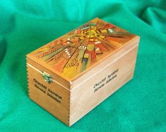 "Storage Box, Keepsake Box, Re-Purposed Wooden Cigar Box, Pyrography + Tinting ""Native Sunburst""  OOAK  (Box No. 006)"