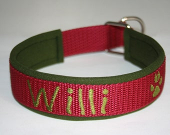 "Train stop collar with name ""bordeaux olive green"" dog collar dog neoprene"