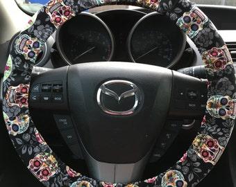 Sugar Skull Dia de los Muertos Steering Wheel Cover (new)