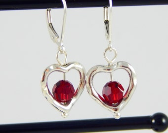 Heart Shaped Earrings/Heart Jewelry/Earring Frame/Earrings Red/Valentines Day Jewelry/Under 30/Valentine Jewelry/Silver Heart Earrings