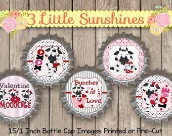 Valentine Cow Printed or Pre-Cut 15/1 inch Bottle Cap Images
