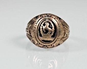 Class Ring 1934 Bristol RI Colts 10k gold Sterling