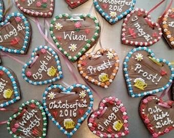 20 Gingerbread Hearts (customized) - Lebkuchenherzen - 4 inch