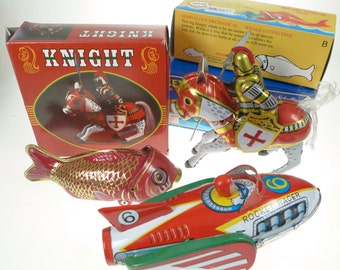 Clockwork Tin Toy Collection Space Ship Knight and Fish