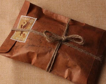 10pcs - Vintage Kraft Paper Envelope Packing Bag