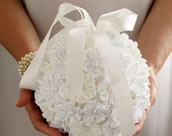 Kanzashi Pomander, Ivory White Bridal Bouquet, Kissing Ball, Fabric Flower Bouquet, Flower Girl Pomander, Wedding Bouquet, Satin Bouquet
