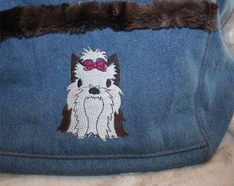 Dog Sling / Dog carrier / cross body / denim / embroidered / faux rabbit minky