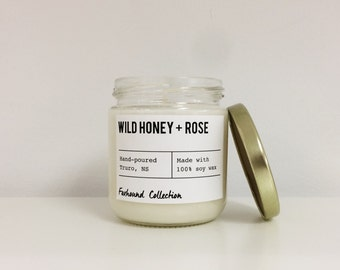 Wild Honey + Rose scented candle | hand poured natural soy wax | Foxhound Collection | Candles, Soy Candle Gift Idea Home Decor