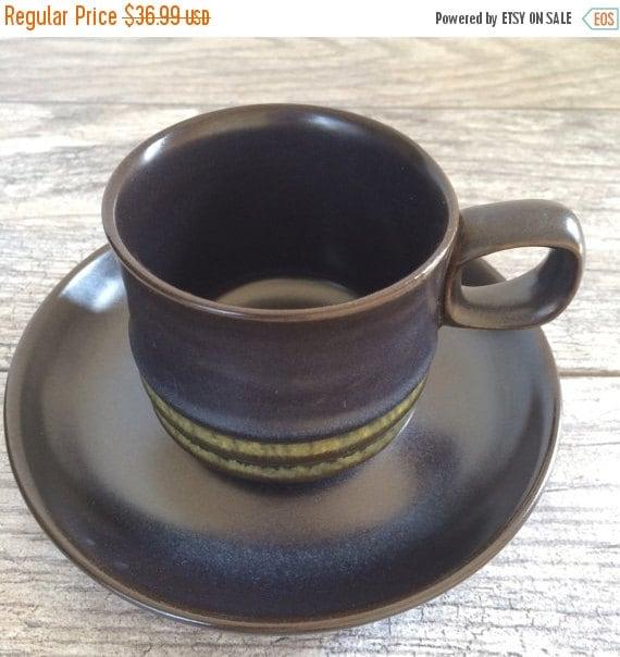 ON SALE Denby Kismet Blue Bokhara Cups and Saucers, Set of SIX, Vintage Denby England Tableware Dishware