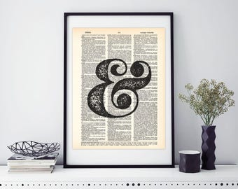 Ampersand, Grunge Illustration, Dictionary print, Tipography art, Upcycled art, vintage art, recycle art #002