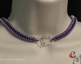 Submissive Collar / Slave Collar. BDSM Day Collar, Discrete Day Collar, Discreet Pet Collar, Two Hearts One Love Box Chainmaille Weave