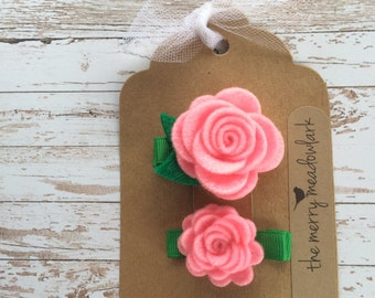 Bright Pink Felt Flower Hair Clips. Felt Flower Clip. Felt Hair Accessory.